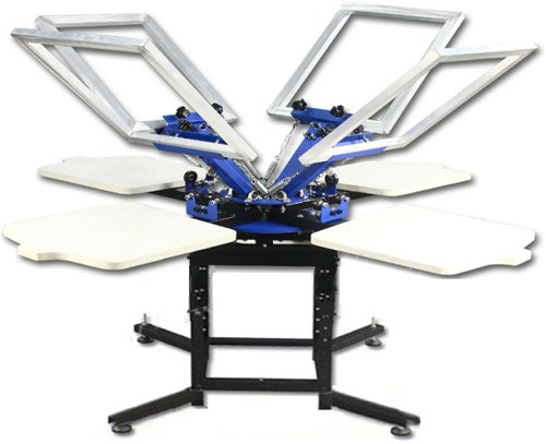 Manual Carousel 4 Colors 4 Stations Screen Printing Machine for Tshirt